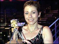Jane after receiving the Helen Rollason Award in 2002