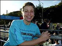 Jane Tomlinson after riding from John O'Groats to Land's End