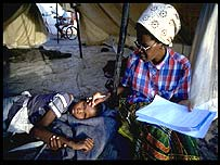Child being treated for malaria