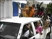 Celebrations on a Nouakchott street (al Jazeera TV)