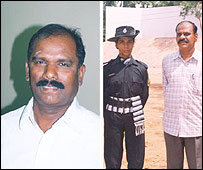 Inspector-general of police (operations) K. Rajendran (left) and deputy superintendent N. Dhamodaran (right) with prize-winning commando Kalaiselvi