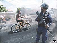 Jamaican riot policeman in Kingston, April 1999