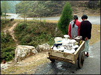 Villagers carrying water from the plains (Picture courtesy Eastern Projections)