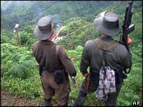 Rebels of the Revolutionary Armed Forces of Colombia (FARC) watch a road block they set up, from a hill in El Berlin