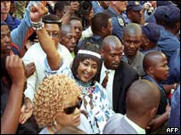 Winnie Madikizela-Mandela outside the court