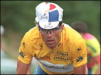 Miguel Indurain in the leader's yellow jersey