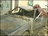 Car hit by the blast