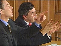 Tony Blair and Gordon Brown at their joint press conference on the euro earlier this month