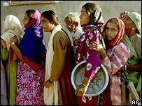 Women queue for food aid in Bhuj, Gujarat