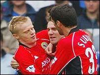 Blackburn Rovers celebrate David Dunn's equaliser
