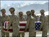 American soldiers carry coffin of US soldier at Bagram airbase