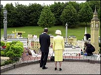 Danish chief executive of Lego Kjeld Kirk Kristiansen and the Queen in Legoland, Berkshire