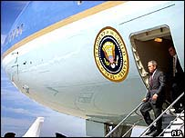 George Bush steps off Air Force One