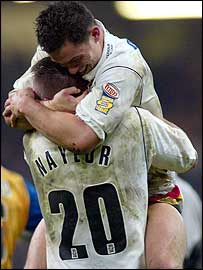 Paul and Naylor celebrate at the final whistle