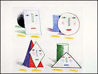 Simplified Faces State II by David Hockney.  Courtesy of David Hockney and www.fineart.ac.uk