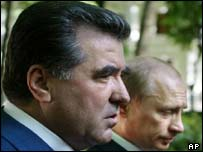 Russian President Vladimir Putin, right, and Tajik President Emomali Rakhmonov
