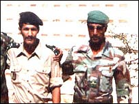 Colonel Salah Ould Hananna (right) with Sidi Ould Lekhdeyem, who was not part of the coup attempt