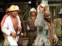 Black miners in South Africa