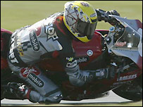 Steve Hislop in action at Silverstone in March on his new Yamaha bike