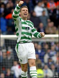 Alan Thompson shows his delight at putting Celtic ahead