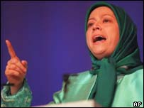 Addressing a women's conference at Earls Court in 1996