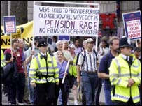 Pensioners are angry about losing company pensions