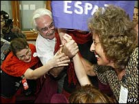 Jubilant Argentine human rights activists