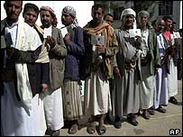 Voters in the capital, Sanaa