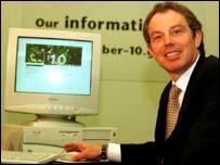 PM Tony Blair launching the No. 10 website