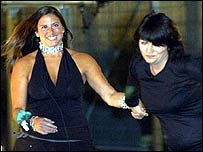 Big Brother contestant Justine Sellman with host Davina McCall