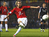 David Beckham curls in a free kick against Real Madrid