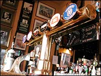 Beer pumps inside a pub