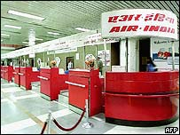 empty air india check in counters at Delhi airport