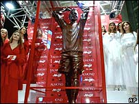 Chocolate statue of David Beckham in Japan