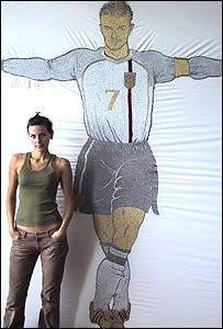 Loreta Bilinskaite-Burke with the tapestry,