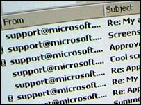 Screen grab of an inbox full of the Palyh virus, BBC