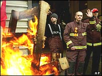 Firefighters in London during one of the strikes
