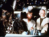 Chewbacca (left) with Luke Skywalker and Obi Wan Kenobi