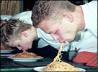 Men eating spaghetti