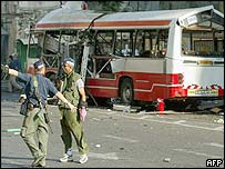 Aftermath of a suicide bombing of a bus in Jerusalem