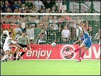 France striker David Trezeguet scores the