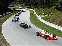 Action from the Cart race at Road America in 2002