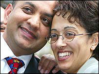Trupti Patel (right) and her husband