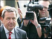 Gerhard Schroeder arrives for a party meeting on Monday