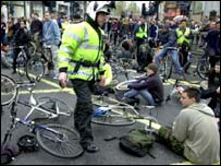 The Critical Mass cyclists sit-in on May Day