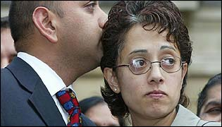 Trupti Patel and her husband, after her acquittal at Reading Crown Court