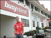 Mark Davies in front of BusyInternet