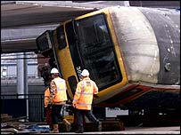 The train derailed at Potters Bar