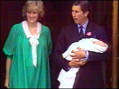 Prince Diana and Prince Charles at St Mary's Hospital with Prince William
