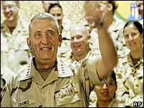 US General Tommy Franks with coalition troops in Qatar, 28 April, 2003